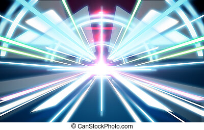 Abstract futuristic tunnel wallpaper. Technology and...