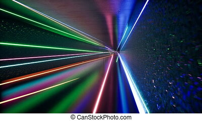 Abstract futuristic tunnel with neon light.