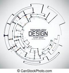 abstract, futuristisch, oogappel, op, circuit plank, vector, illustratie