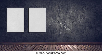 Abstract gallery room with dark plaster wall, wooden floor and blank poster frames