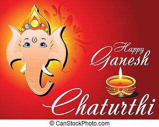 abstract ganesh chaturthi card vector illustration