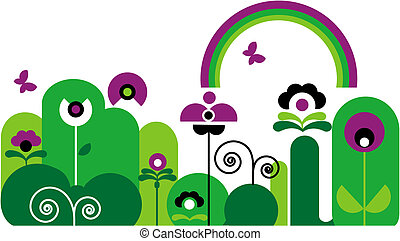 garden with butterfly, rainbow and green and purple flowers with swirls