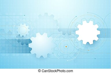 Abstract gear wheel, geometric lines in blue background