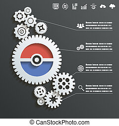Abstract Gear Wheels Infographics Background Concept Design Illustration vector