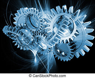 Interlocking gears on an abstract fractal background