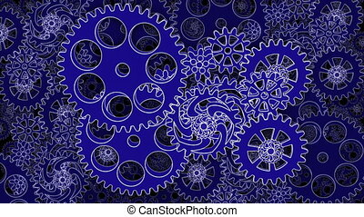 Abstract Gears rotating in looped animation