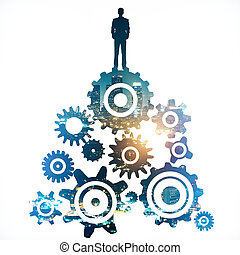 Teamwork concept - Abstract gears with man silhouette on...