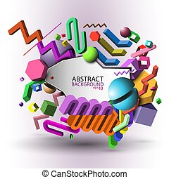 Abstract geometric 3d background - colorful vector eps10