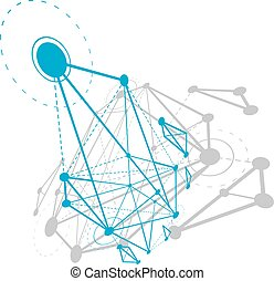 Abstract geometric 3D wireframe object, digital technology vector illustration.