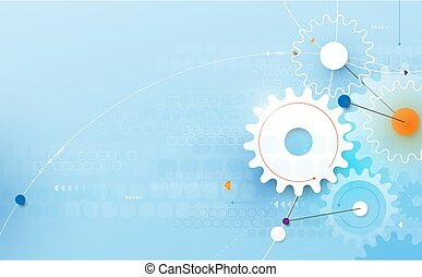 Abstract geometric and gear wheel with technology hi-tech futuristic concept background