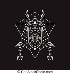 Abstract Geometric Anubis line art style