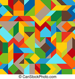 Abstract Geometric Asymmetric Colorful Seamless Pattern of Angular Shapes. Continuous Background from Blue, Brown, Green, Orange, Red, Yellow Figures.
