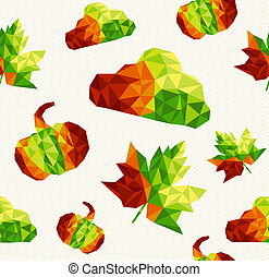 Abstract geometric autumn elements shapes seamless pattern background. EPS10 vector file organized in layers for easy editing.