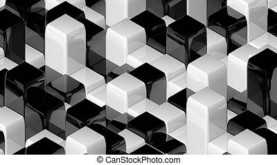Abstract geometric back and white cubes, optical Illusion,...