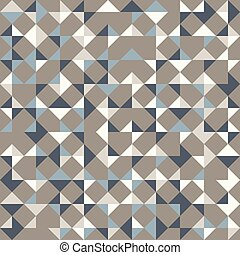 Abstract geometric background in neutral colors. Seamless vector pattern. Brown taupe, navy blue and teal natural colors. Fashion fabric patchwork design. Simple geometry random triangles