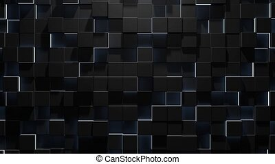 Abstract geometric background of black cubes with white neon elements,3d looped Animation in 4k.