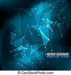 Vector illustration of black and blue abstract geometric background