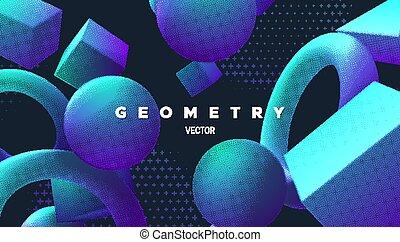 Primitive bright gradient shapes