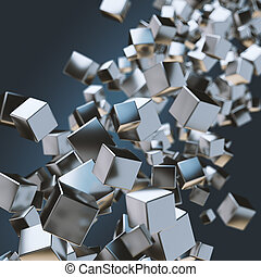 Abstract geometric background with floating stack of metal...