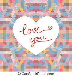 Abstract geometric background with heart shape for valentines day