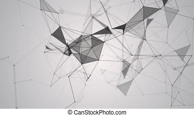 Abstract geometric background with moving lines, dots and triangles. Plexus fantasy abstract technology. Loop animations.