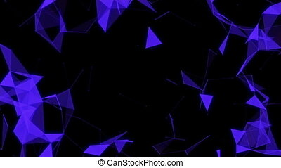 Abstract Geometric Background With Moving Lines, Dots And Triangles