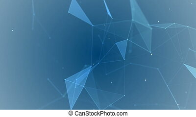 Abstract geometric background with plexus. Neon blue signboard. HUD Element.