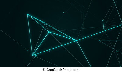 Abstract geometric background with plexus. Neon signboard. HUD Element