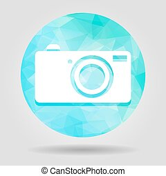 Abstract geometric blue digital camera icon button for graphic d