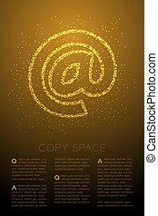 Abstract Geometric Bokeh circle dot pixel pattern At sign icon, Online concept design gold color illustration isolated on brown gradient background with copy space, vector eps 10