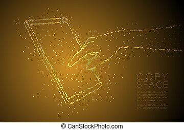 Abstract Geometric Bokeh circle dot pixel pattern Hand touch screen tablet shape, digital concept design gold color illustration isolated on brown gradient background with copy space, vector eps 10