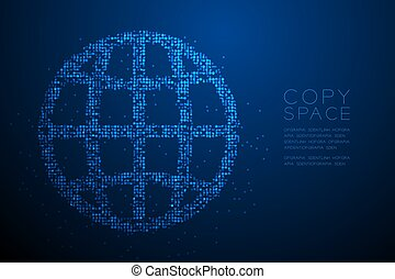 Abstract Geometric Bokeh circle dot pixel pattern Network icon shape, concept design blue color illustration isolated on blue gradient background with copy space, vector eps 10