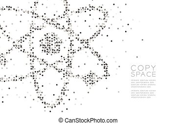 Abstract Geometric Circle dot pattern Atom symbol shape, Science concept design black and white color illustration isolated on white background with copy space, vector eps 10