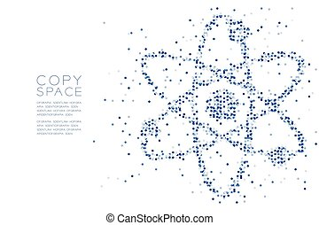 Abstract Geometric Circle dot pattern Atom symbol shape, Science concept design blue color illustration isolated on white background with copy space, vector eps 10