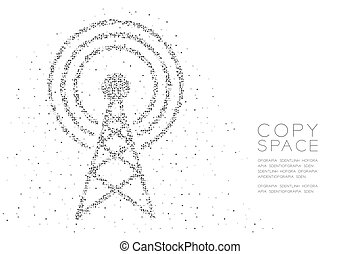 Abstract Geometric Circle dot pixel pattern Antenna tower shape, Broadcast telecommunication concept design black color illustration on white background with copy space, vector eps 10
