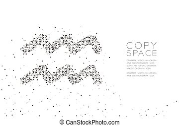 Abstract Geometric Circle dot pixel pattern Aquarius Zodiac sign shape, star constellation concept design black color illustration on white background with copy space, vector eps 10