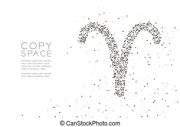 Abstract Geometric Circle dot pixel pattern Aries Zodiac sign shape, star constellation concept design black color illustration on white background with copy space, vector eps 10