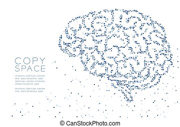 Abstract Geometric Circle dot pixel pattern Brain side view shape, creative science concept design blue color illustration on white background with copy space, vector eps 10