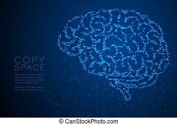 Abstract Geometric Circle dot pixel pattern Brain side view shape, creative science concept design blue color illustration isolated on blue gradient background with copy space, vector eps 10