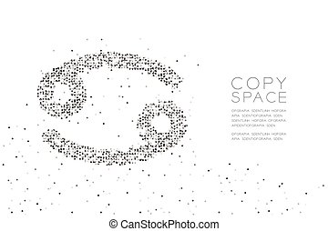 Abstract Geometric Circle dot pixel pattern Cancer Zodiac sign shape, star constellation concept design black color illustration on white background with copy space, vector eps 10