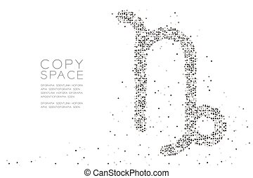 Abstract Geometric Circle dot pixel pattern Capricorn Zodiac sign shape, star constellation concept design black color illustration on white background with copy space, vector eps 10