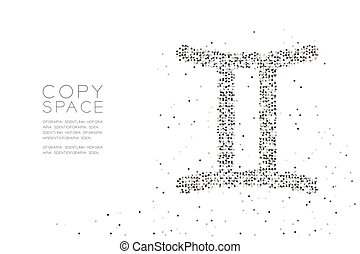 Abstract Geometric Circle dot pixel pattern Gemini Zodiac sign shape, star constellation concept design black color illustration on white background with copy space, vector eps 10