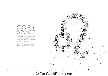 Abstract Geometric Circle dot pixel pattern Leo Zodiac sign shape, star constellation concept design black color illustration on white background with copy space, vector eps 10