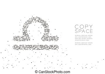 Abstract Geometric Circle dot pixel pattern Libra Zodiac sign shape, star constellation concept design black color illustration on white background with copy space, vector eps 10
