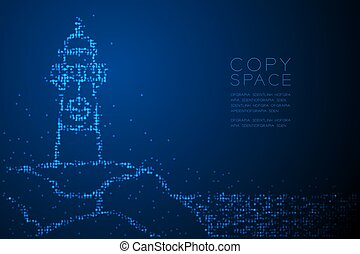 Abstract Geometric Circle dot pixel pattern Lighthouse shape, aquatic and marine life concept design blue color illustration isolated on blue gradient background with copy space, vector eps 10