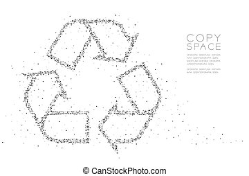 Abstract Geometric Circle dot pixel pattern Recycle sign, environment conservation concept design black color illustration on white background with copy space, vector eps 10