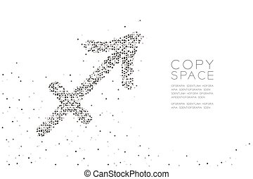 Abstract Geometric Circle dot pixel pattern Sagittarius Zodiac sign shape, star constellation concept design black color illustration on white background with copy space, vector eps 10