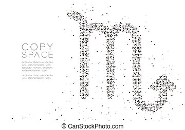 Abstract Geometric Circle dot pixel pattern Scorpio Zodiac sign shape, star constellation concept design black color illustration on white background with copy space, vector eps 10