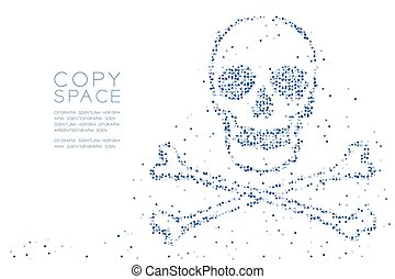Abstract Geometric Circle dot pixel pattern Skull and crossbones shape, dangerous concept design blue color illustration on white background with copy space, vector eps 10