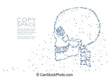 Abstract Geometric Circle dot pixel pattern Skull side view shape, medical science concept design blue color illustration on white background with copy space, vector eps 10